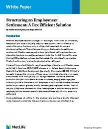 Structuring an Employment Settlement: A Tax Efficient Solution